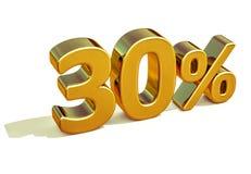 guld 3d 30 procent rabatttecken Fotografering för Bildbyråer