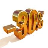 guld 3d 30 procent rabatttecken Arkivfoton