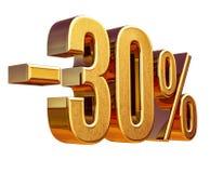 guld 3d 30 procent rabatttecken Royaltyfri Bild