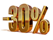 guld 3d 30 procent rabatttecken Arkivfoto