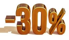 guld 3d 30 procent rabatttecken Arkivbild