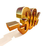 guld 3d 30 procent rabatttecken Royaltyfria Bilder