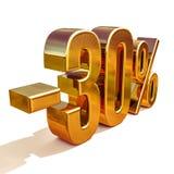 guld 3d 30 procent rabatttecken Royaltyfri Foto
