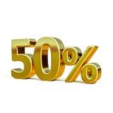 guld 3d 50 procent tecken Royaltyfria Bilder