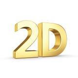 Guld- 2D symbol som isoleras på vit Arkivfoto