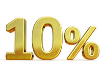 guld 3d 10 tio procent rabatttecken Royaltyfria Foton