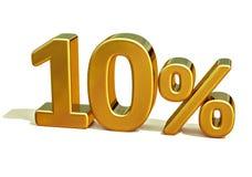 guld 3d 10 tio procent rabatttecken Royaltyfri Bild