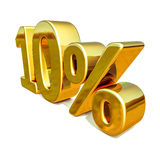 guld 3d 10 tio procent rabatttecken Royaltyfri Fotografi
