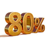 guld 3d 80 åttio procent rabatttecken Royaltyfri Fotografi