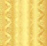 Guld- damast modell med den blom- prydnaden för tappning royaltyfri illustrationer