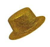Guld- dams för tappning hatt på isolerad vit bakgrund Royaltyfri Fotografi