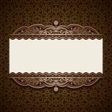 Guld- dekorativ kortmall för tappning Royaltyfria Bilder