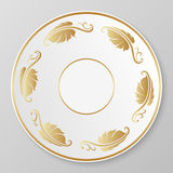 Guld- dekorativ platta för vektor Arkivbild