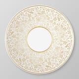 Guld- dekorativ platta för vektor Arkivfoto