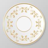 Guld- dekorativ platta för vektor Arkivbilder