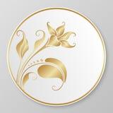 Guld- dekorativ platta för vektor Fotografering för Bildbyråer