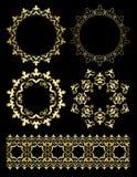 Guld- dekorativa designbeståndsdelar - vektorprydnader och runda ramar royaltyfri illustrationer