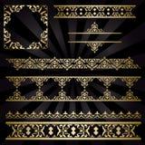 Guld- dekorativa tappningprydnader - uppsättning vektor illustrationer