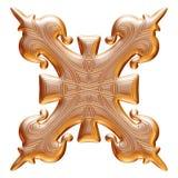 Guld- dekorativt med metalletiketten på isolerad vit bakgrund Arkivfoto