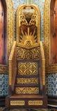 Guld- dekorerat inristat minbar, moské av den Manial slotten av prinsen Mohammed Ali, Kairo, Egypten arkivbild
