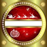 Guld- design för jul på en röd bakgrund royaltyfri illustrationer