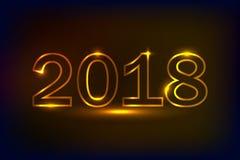 Guld- 2018 design för ` s för nytt år, neonljuseffekt Fotografering för Bildbyråer