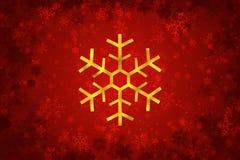 Guld- design för snöflingajulgarnering arkivfoto