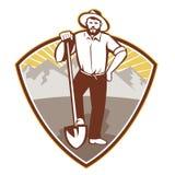 Guld- Digger Miner Prospector Shield vektor illustrationer