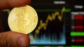 Guld- digitalt valutamynt för BTC Bitcoin verkligt mynt royaltyfria bilder