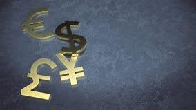 Guld- dollar-, euro-, yen- och pundsymbol på det konkreta golvet royaltyfri illustrationer