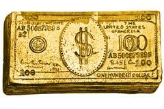 guld- dollar för 100 bill Arkivfoto
