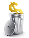 Guld- dollarsymbol i stålsoptunna med locket. Fotografering för Bildbyråer