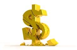 Guld- dollartecken Arkivbild
