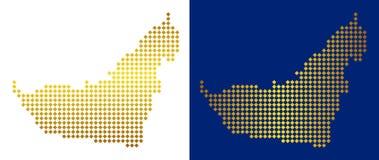Guld- Dot Arab Emirates Map stock illustrationer