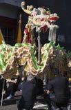 115. guld- Dragon Parade, kinesiskt nytt år, 2014, år av hästen, Los Angeles, Kalifornien, USA Royaltyfri Fotografi