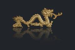 Guld- drakar i kinesisk stil Royaltyfri Bild