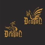 Guld- drakar på en svart bakgrund Arkivbild