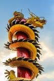 Guld- drake som slingra sig in i himlen Royaltyfri Fotografi