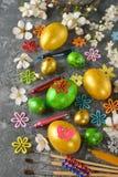 Guld- easter ägg Arkivfoto