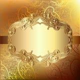 Guld- elegant blommabakgrund med en snöra åtmodell stock illustrationer