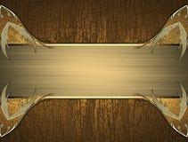 Guld- elegant modell för text på trätextur vektor illustrationer