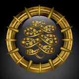 Guld- emblem med anacondaen Arkivfoton