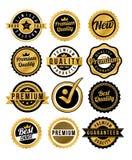 Guld- emblem och etiketter Arkivbilder