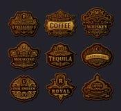 Guld- emblemuppsättning för tappning Krusidullar krönar den calligraphic prydnaden stock illustrationer