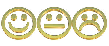 guld- emoticons vektor illustrationer