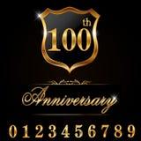 guld- etikett för 100 år årsdag, dekorativt guld- emblem för 100. årsdag royaltyfri illustrationer
