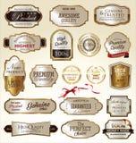 guld- etiketter för samling Royaltyfria Bilder
