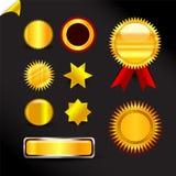 Guld- etiketter och klistermärkear Fotografering för Bildbyråer