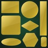Guld- etiketter packar vektordesignillustrationen vektor illustrationer