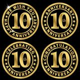 guld- etikettuppsättning för 10th årsdag som firar 10 år annivers Arkivbilder